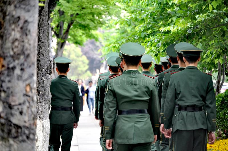 Soldiers in Qingdao, China royalty free stock photo