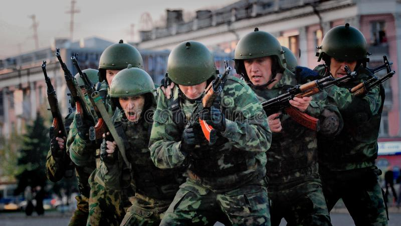 A group of special forces soldiers trained to fight in the city. Barnaul, Altai Krai-may 7, 2014.A group of special forces soldiers trained to fight in the city stock photo