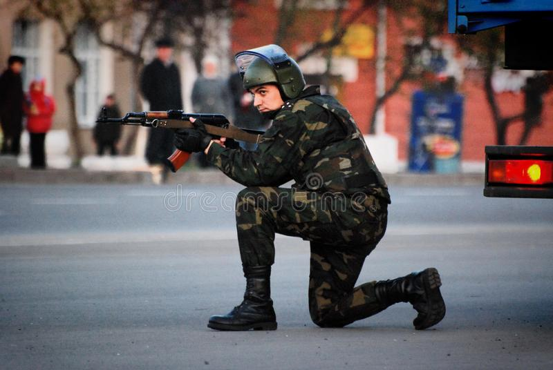 A group of special forces soldiers trained to fight in the city. Barnaul, Altai Krai-may 7, 2014.A group of special forces soldiers trained to fight in the city royalty free stock photos