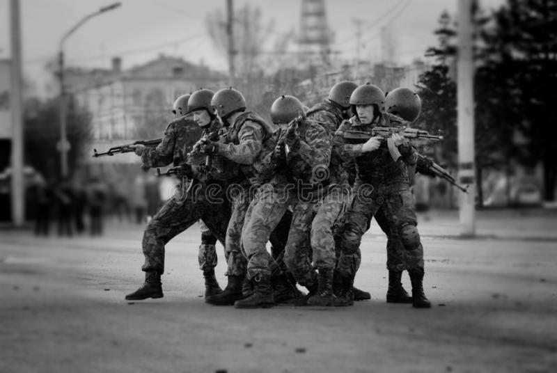 A group of special forces soldiers trained to fight in the city. Barnaul, Altai Krai-may 7, 2014.A group of special forces soldiers trained to fight in the city stock photography