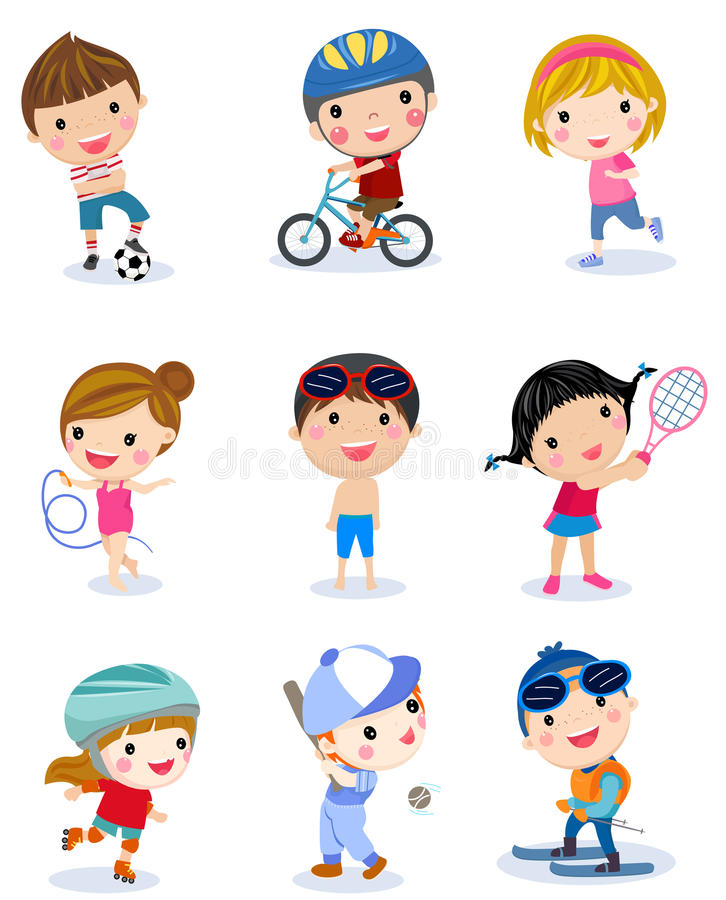 Group of sport boys and girls stock illustration