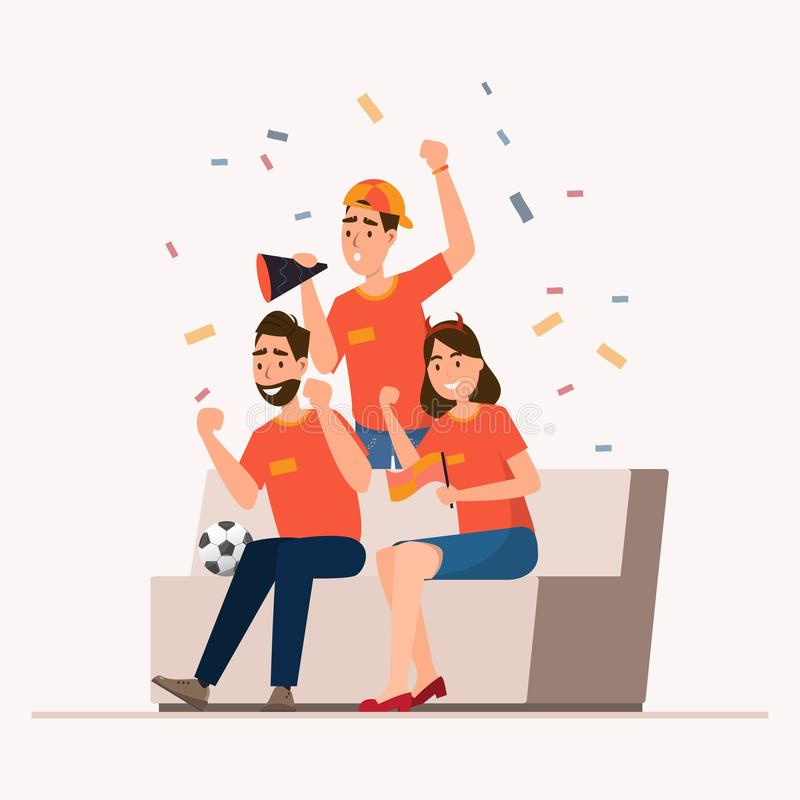 Group of sport fans cheer football for their team vector illustration
