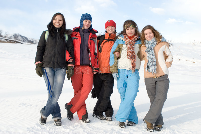 Group of sport teens different ethnicity stock image