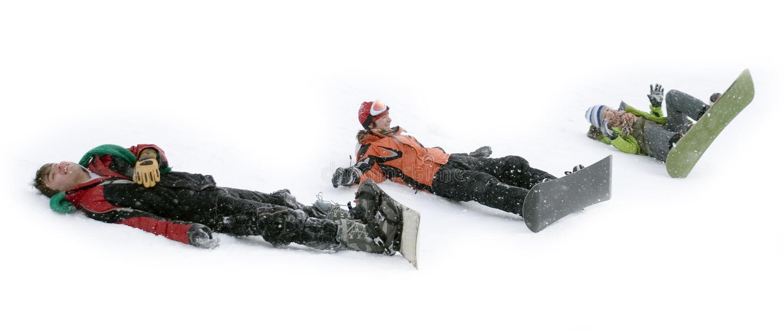 Group of sports teenagers snowborders stock images
