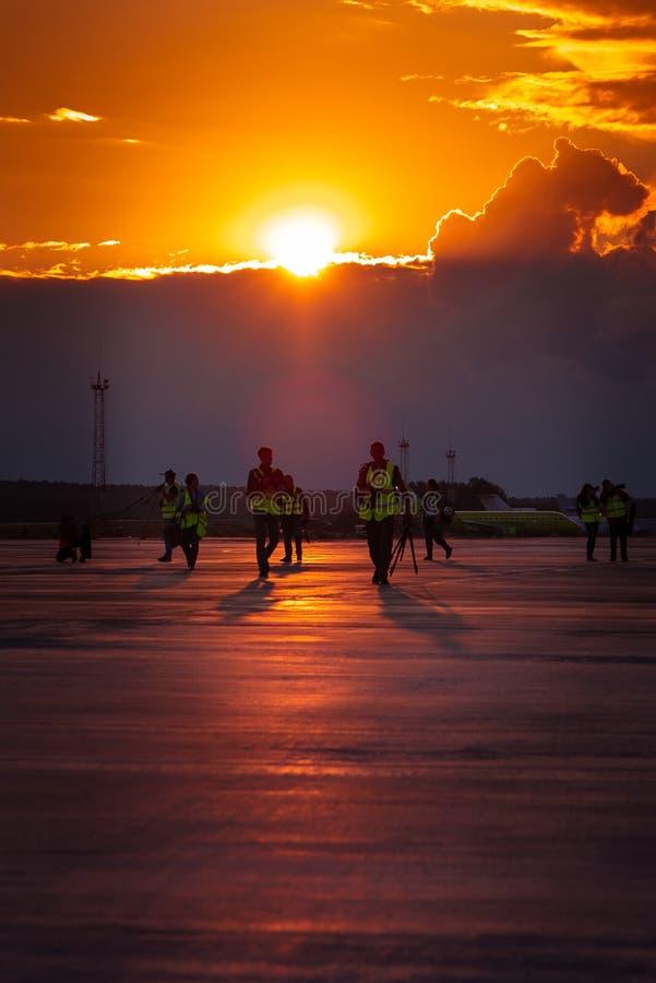 Yemelyanovo Airport. Krasnoyarsk. Russia-15.08.2018. Official spotting. stock photography
