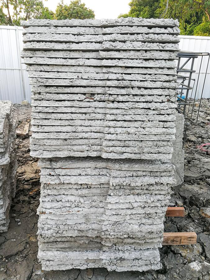 Group of square concrete cemrnt many layer prepare for make pattern foundation pile stock photos