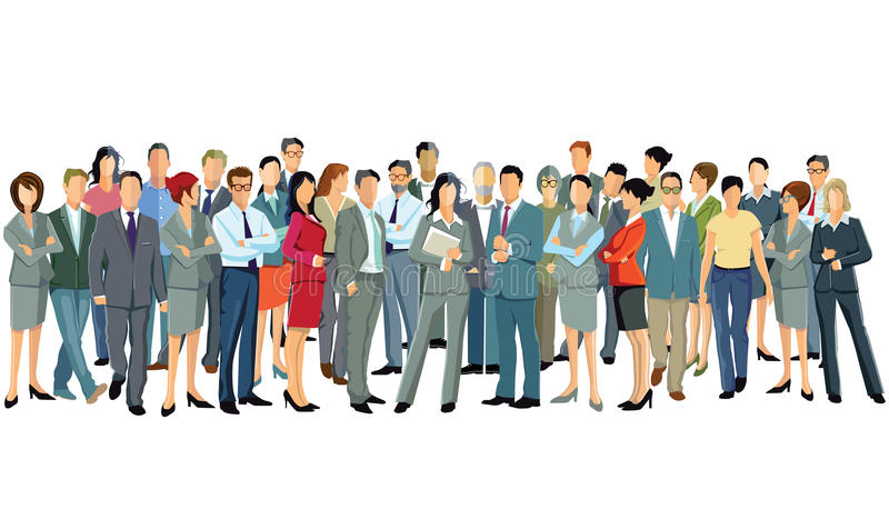 Group of standing business professionals. Group of businesses professionals standing together stock illustration