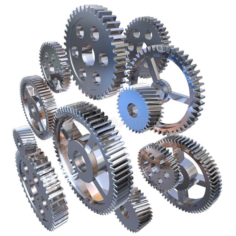 Group of steel gears stock illustration