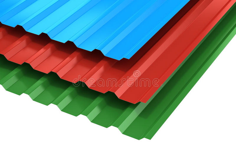 Group of steel profile sheets stock illustration