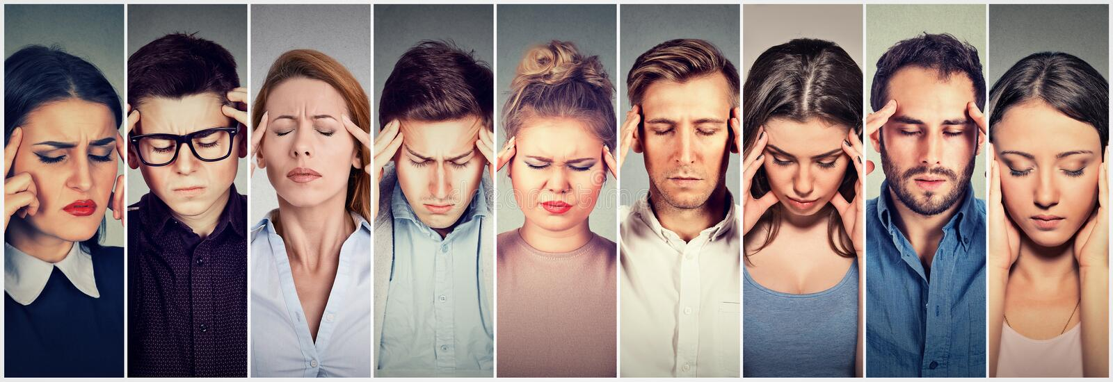 Group of stressed people having headache stock images