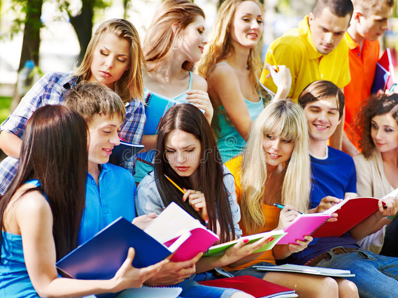 Download Group Student With Notebook Outdoor. Stock Photo - Image: 25078210