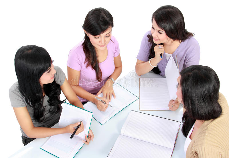 Group of student studying stock photography