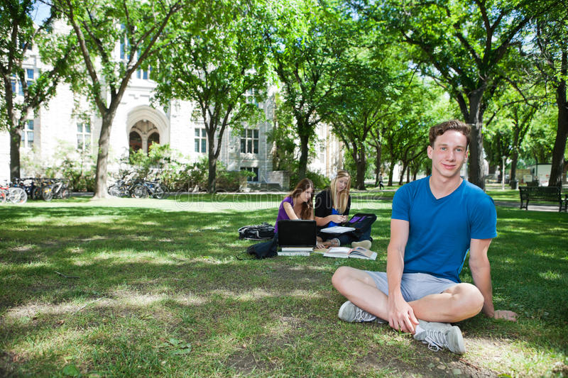 Group of students at college campus stock photography