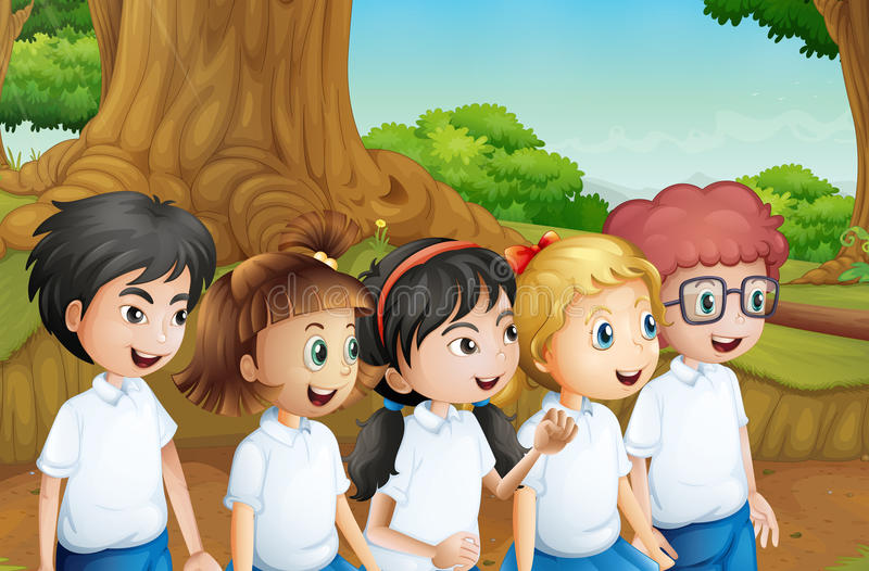 A group of students at the forest stock illustration