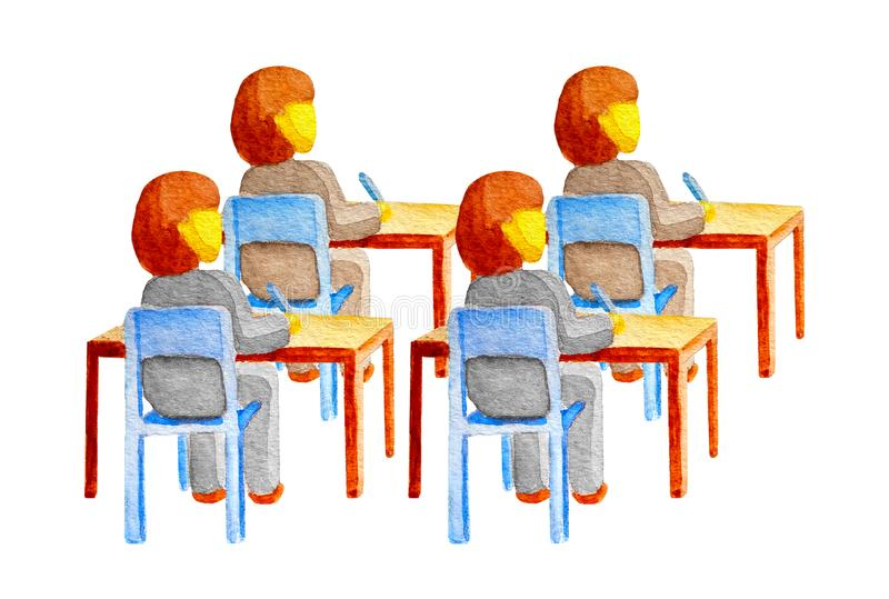 A group of 4 students girls in uniform sit at wooden desks on chairs. Pupils write with pens. Children listen to a lecture lesson vector illustration