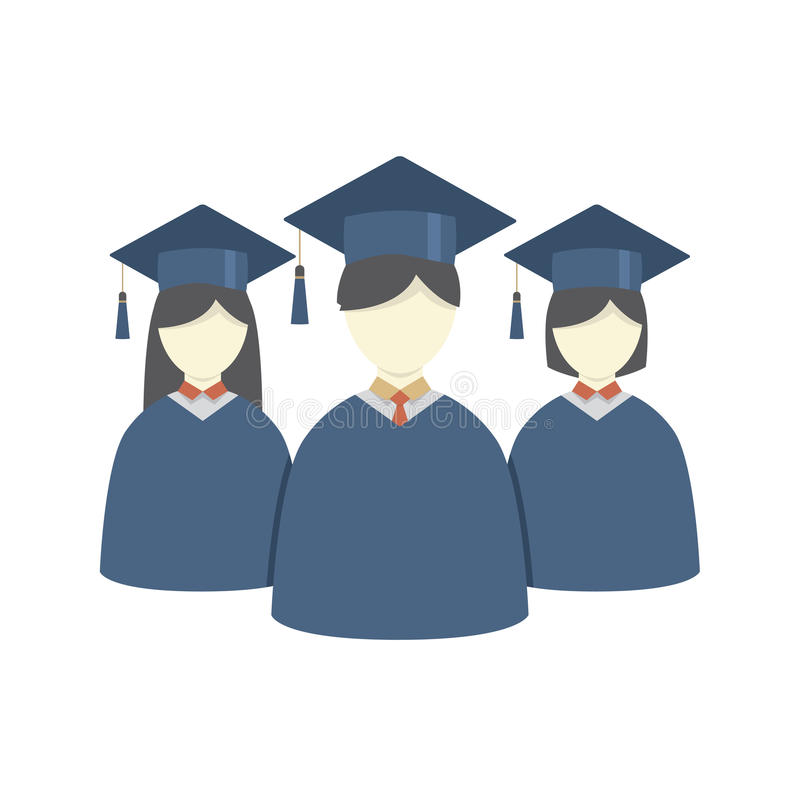 Group of Students In Graduation Gown And Mortarboard stock illustration