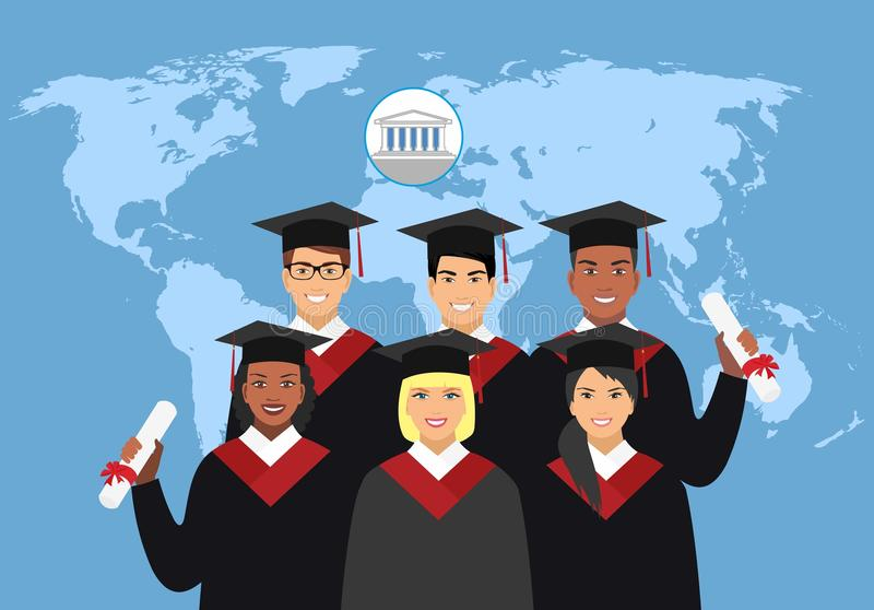 A group of students in graduation gowns on the background of the world map. royalty free illustration