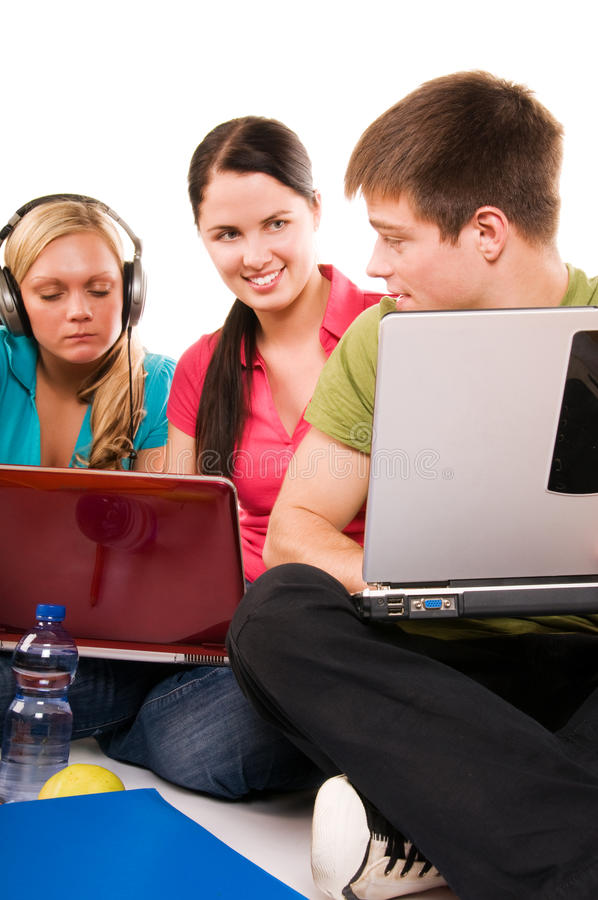 Download Group Of Students Having Fun, Doing Home Work Stock Photo - Image: 10031220