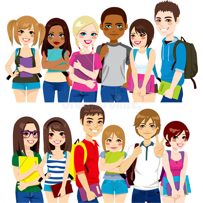 Group of students. Illustration of two different group of diverse ethnic students together vector illustration