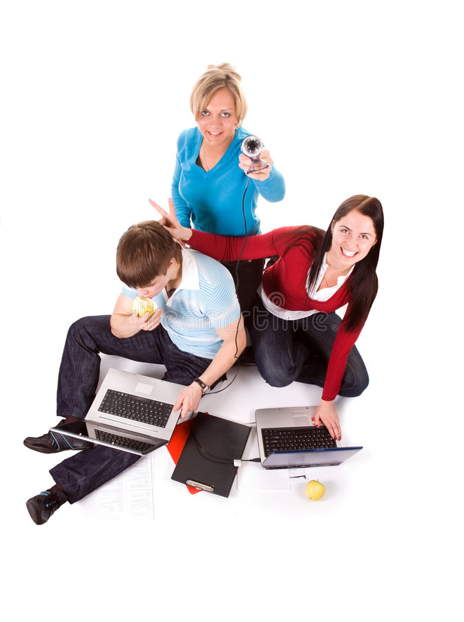 Group of students with the laptops stock photo