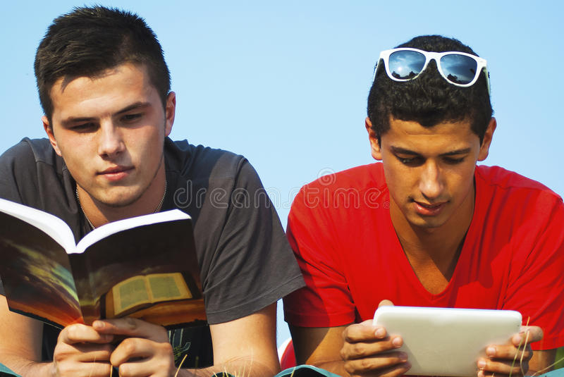Group of students learning outdoor stock photo