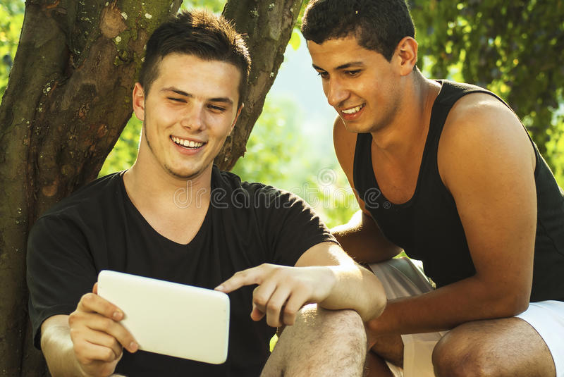 Group of students learning outdoor royalty free stock image