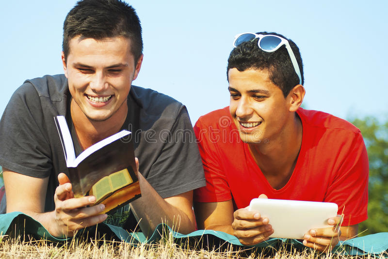 Group of students learning outdoor royalty free stock photos