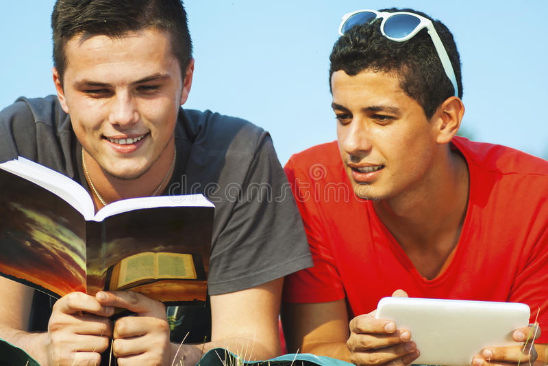 Group of students learning outdoor royalty free stock photography