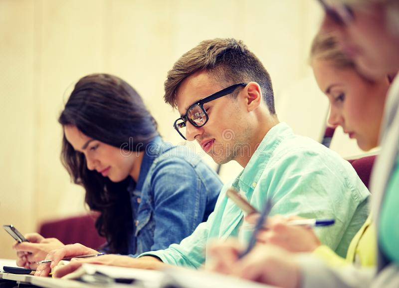 Group of students at lecture stock images