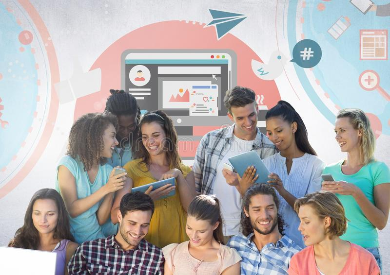 Group of students reading in front of social media graphics stock photo