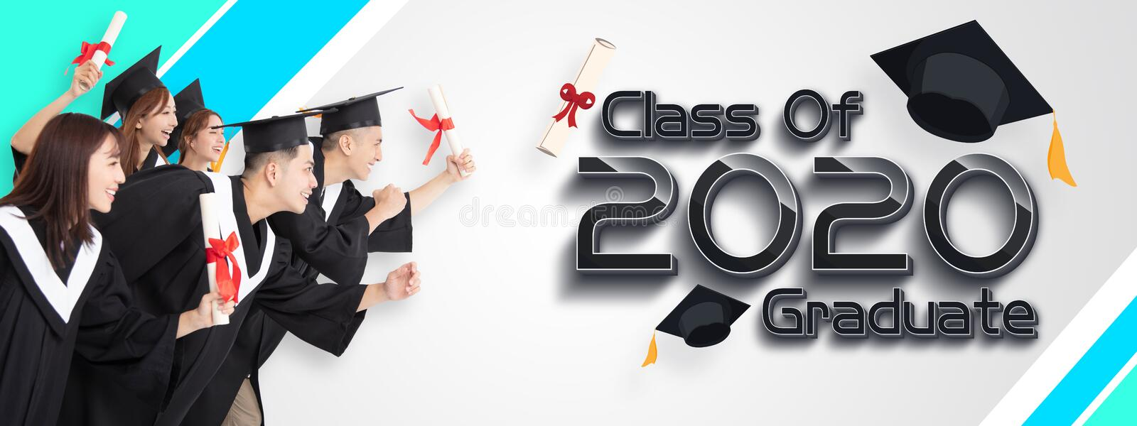 Group of Students Running and Celebrating Graduation 2020 stock photo