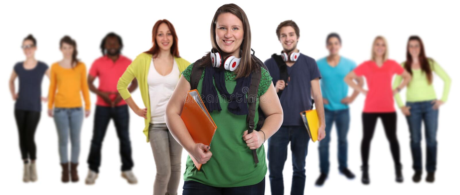 Group of students smiling happy people isolated stock image