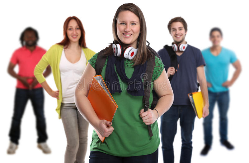 Group of students smiling people isolated stock photo