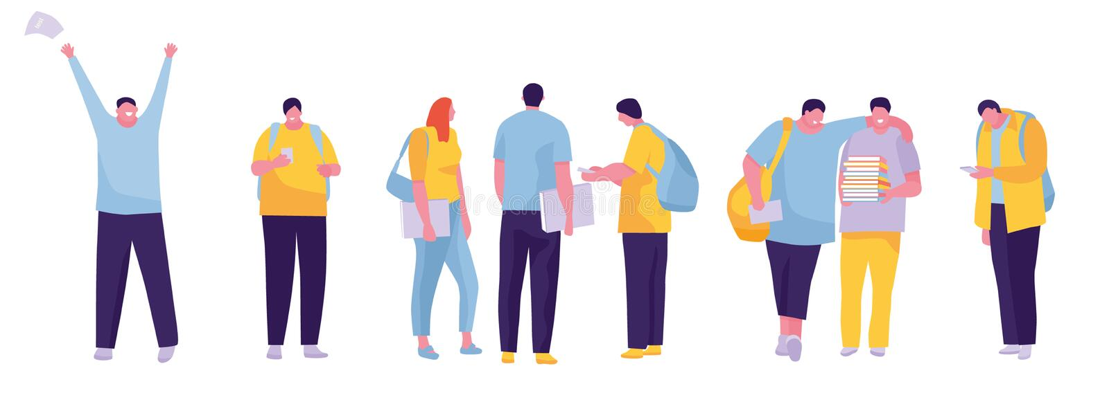 Group of students smiling and standing together. White background. Vector illustration in a flat cartoon style. Group of students smiling and standing together royalty free illustration