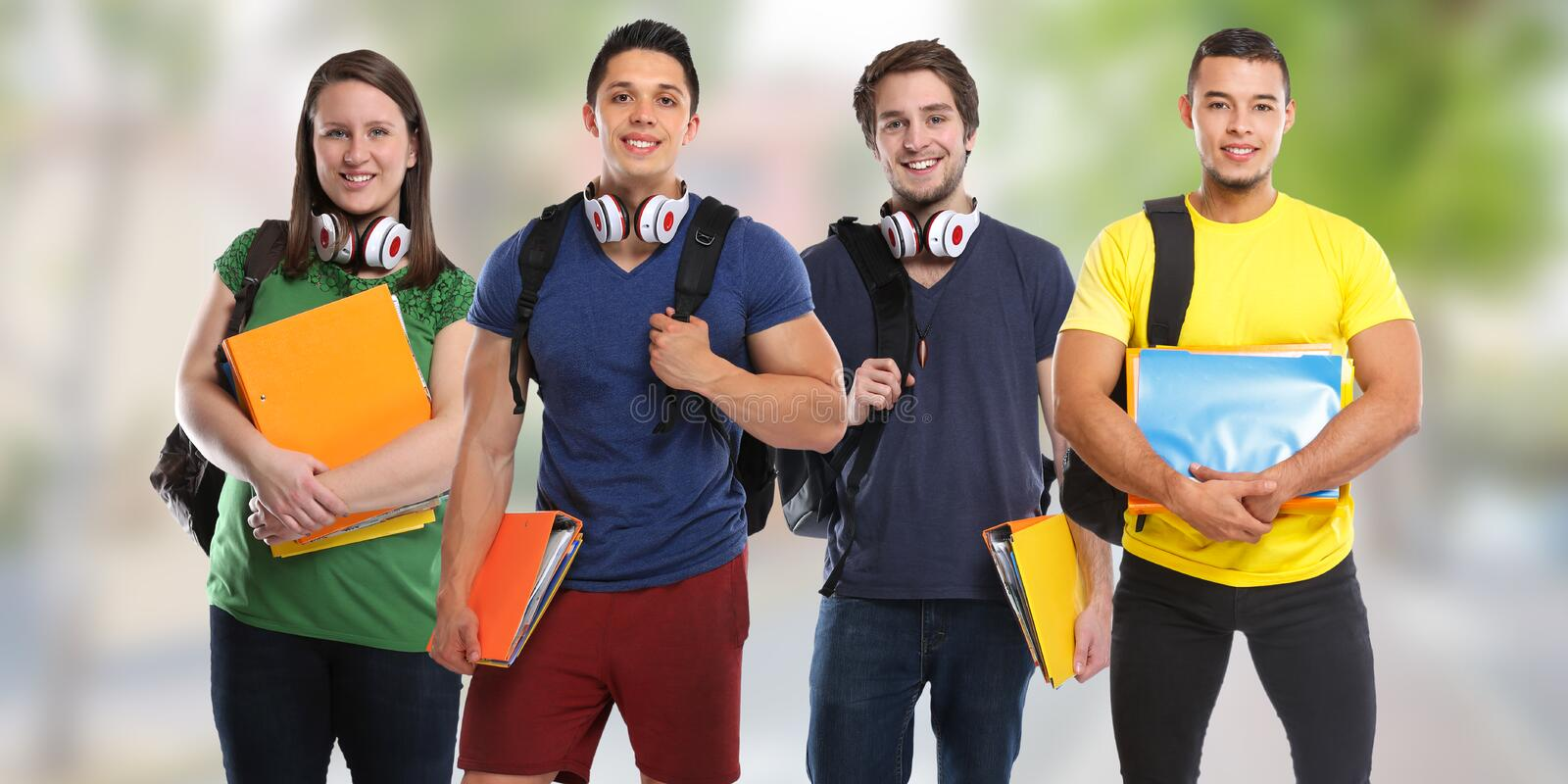 Group of students study education town young people stock photos
