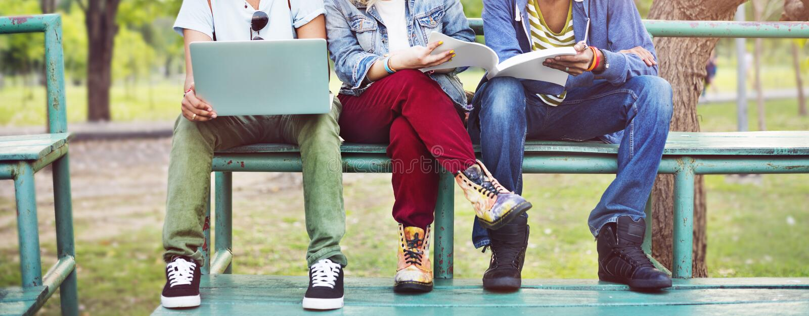 Group Students Studying Bleachers Together Concept.  stock image
