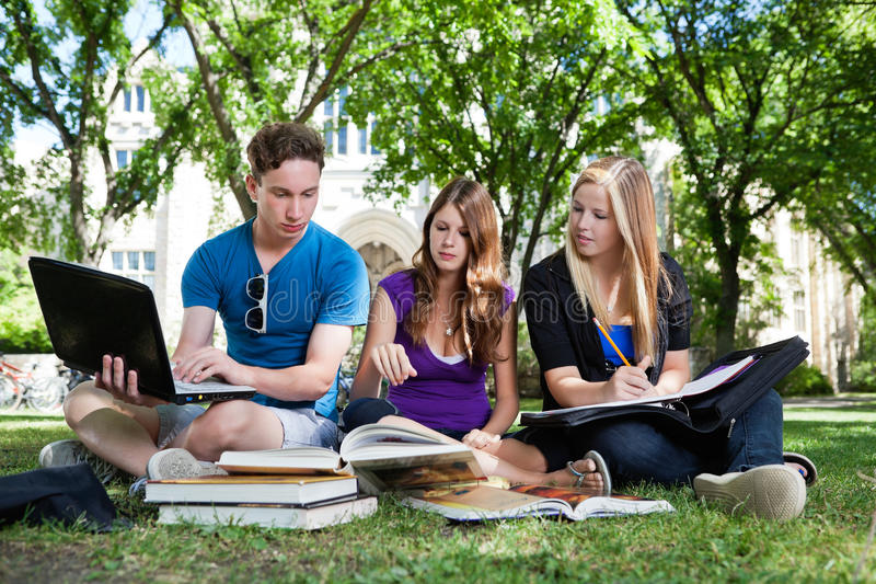 Group of students studying together royalty free stock photography