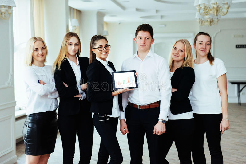 Group of students studying using a laptop stock photos