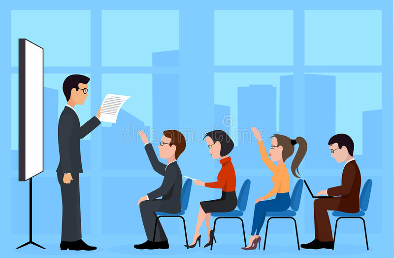 A group of students. A training seminar. On the image is presented group of students. A training seminar royalty free illustration