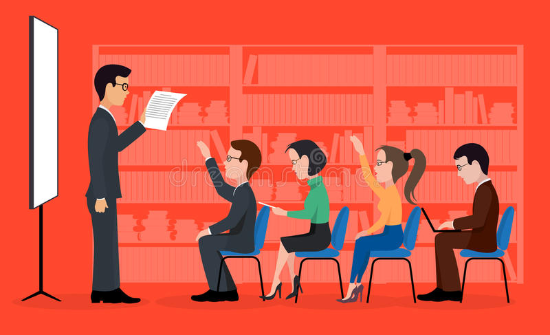 A group of students. A training seminar . On the image is presented A group of students. A training seminar stock illustration
