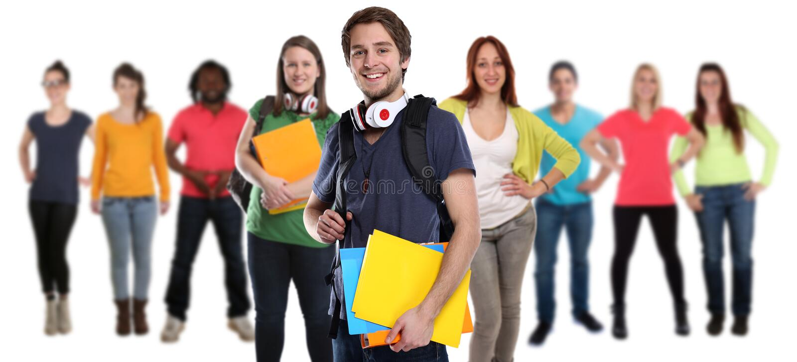 Group of students young smiling happy people isolated stock photo