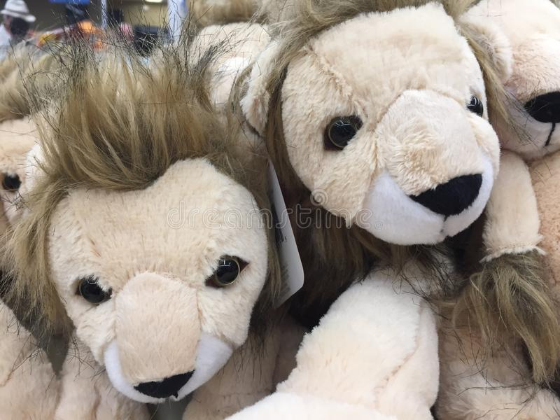 Stuffed Animal Toy Lions. A group of stuffed animals that are supposed to look like lions. A child`s soft toy stock image