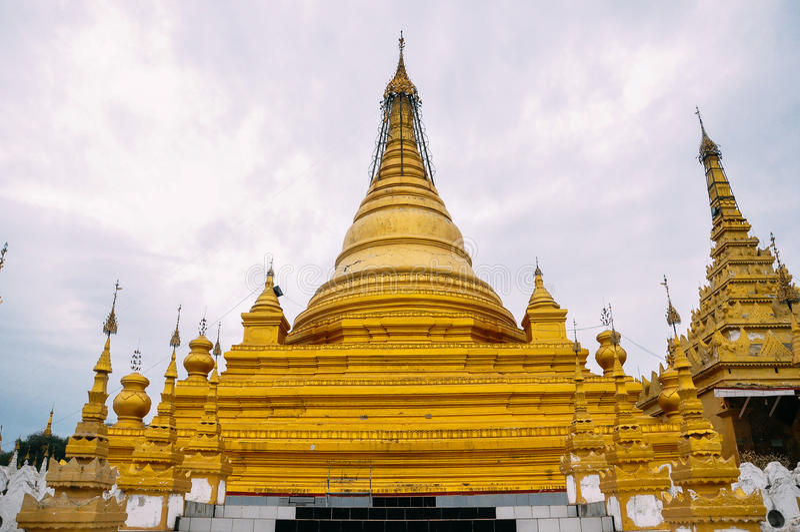Group of stupas in Sanda Muni Paya temple of Mandalay. Group of stupas in Sanda Muni Paya temple of Mandalay, Myanmar royalty free stock photo