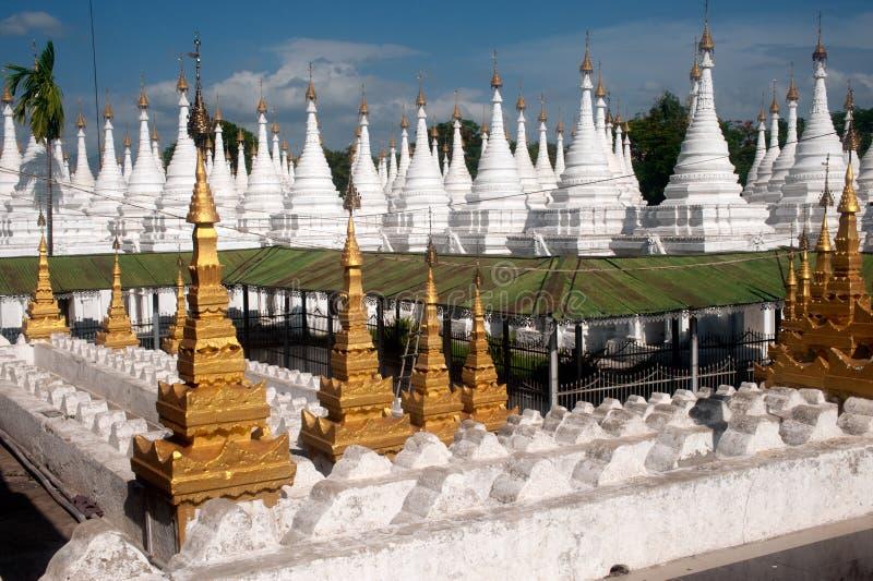 Group of stupas in Sanda Muni Paya temple of Myanmar. stock image