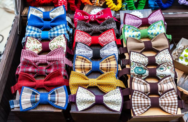 Group of stylish bow ties different colors royalty free stock photos