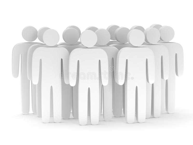 Group of stylized blank people stand on white. 3d render icon. Teamwork, business, crowd concept royalty free illustration