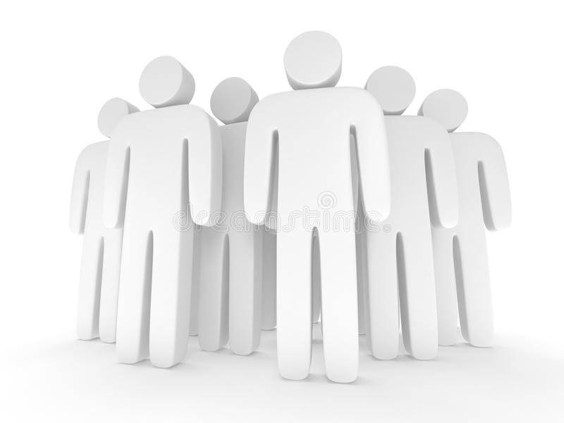 Group of stylized blank people stand on white. 3d render icon. Teamwork, business, crowd concept vector illustration