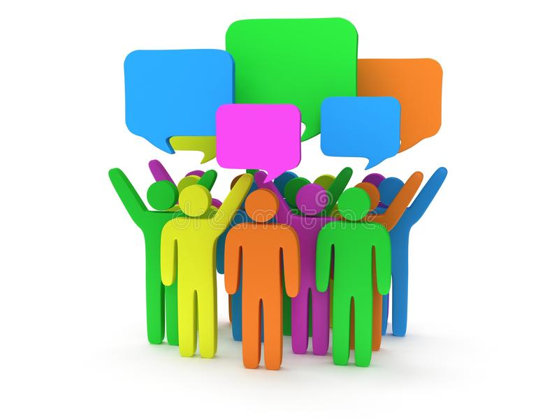 Group of stylized colored people with chat bubbles. Stand on white. 3d render icon. Teamwork, business, conference, concept stock illustration