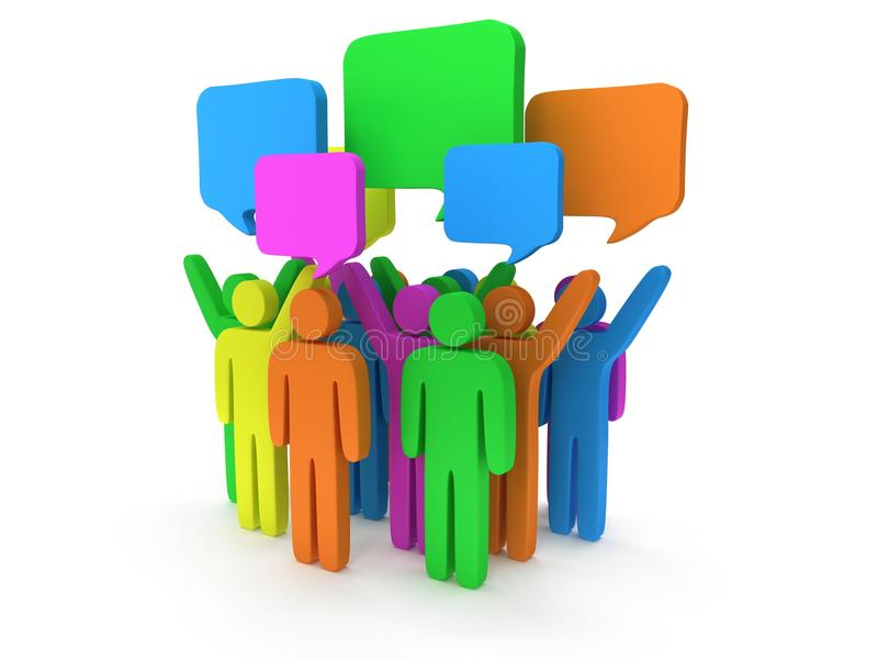 Group of stylized colored people with chat bubbles. Stand on white. 3d render icon. Teamwork, business, conference, concept royalty free illustration