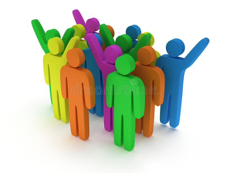 Group of stylized colored people stand on white. 3d render icon. Teamwork, business concept vector illustration
